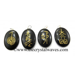 Black Agate Usui Reiki  Engraved Oval Pendant Set