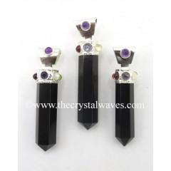 Black Agate Pencil Cap Chakra Pendant