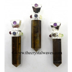 Tiger Eye Agate Pencil Cap Chakra Pendant