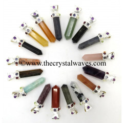 Mix Assorted Gemstones Pencil Cap Chakra Pendant