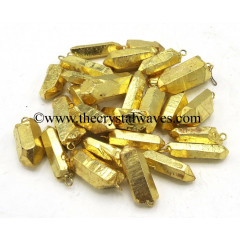 Crystal Quartz Full Gold Electroplated Pencil Pendants