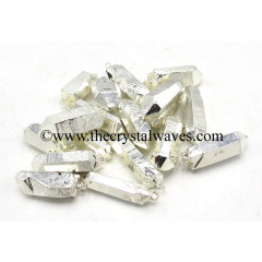 Crystal Quartz Full Silver Electroplated Pencil Pendants