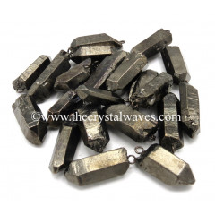 Crystal Quartz Full Black Rhodium Electroplated Pencil Pendants