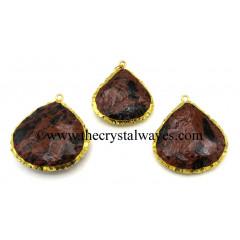 Mahagony Obsidian Small Handknapped Heart Gold Electroplated Pendant