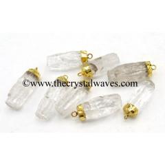 Crystal Quartz Handknapped Cylinder Gold Electroplated Pendant