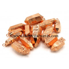 Crystal Quartz Full Copper Electroplated Pencil Pendants