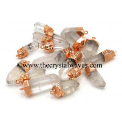 Crystal Quartz Copper Electroplated Pencil Pendants