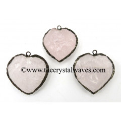 Rose Quartz Black Rhodium Electroplated Small Heart Pendant
