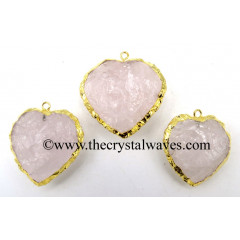 Rose Quartz Gold Electroplated Big Heart Pendant