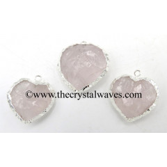 Rose Quartz Silver Electroplated Big Heart Pendant