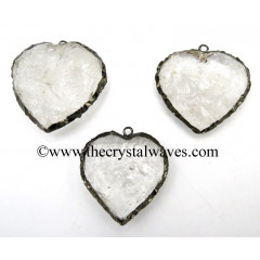 Crystal Quartz Black Rhodium Electroplated Big Heart Pendant