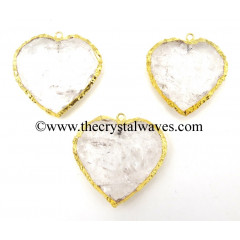Crystal Quartz Gold Electroplated Big Heart Pendant