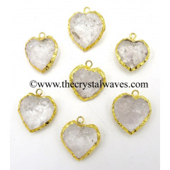 Crystal Quartz Gold Electroplated Small Heart Pendant