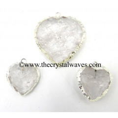 Crystal Quartz Silver Electroplated Big Heart Pendant