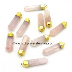 Rose Quartz Pencil Gold Cap Electroplated Pendant