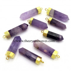 Amethyst Pencil Gold Cap Electroplated Pendant