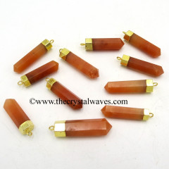 Red Aventurine Pencil Gold Cap Electroplated Pendant
