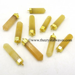 Yellow Aventurine Pencil Gold Cap Electroplated Pendant