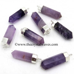 Amethyst Pencil Silver Cap Electroplated Pendant