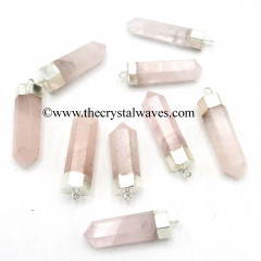 Rose Quartz Pencil Silver Cap Electroplated Pendant