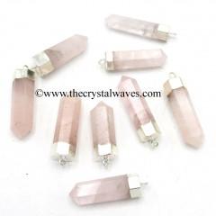 Rose Quartz Pencil Silver Cap Electroplated Pendant