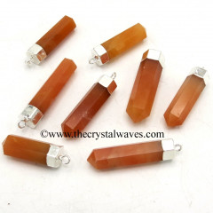 Red Aventurine Pencil Silver Cap Electroplated Pendant