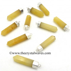Yellow Aventurine Pencil Silver Cap Electroplated Pendant