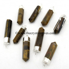 Tiger Eye Agate Pencil Silver Cap Electroplated Pendant