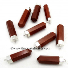 Red Jasper Pencil Silver Cap Electroplated Pendant