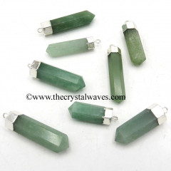 Green Aventurine Pencil Silver Cap Electroplated Pendant