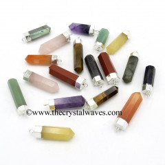 Mix Assorted Gemstones Pencil Silver Cap Electroplated Pendant