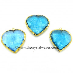 Sky Blue Hydro Quartz Heart Shape Gold Electroplated Pendant
