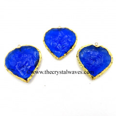 Blue Hydro Quartz Heart Shape Gold Electroplated Pendant