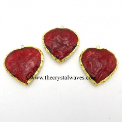 Red Hydro Quartz Heart Shape Gold Electroplated Pendant