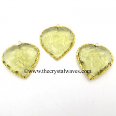Lemon Hydro Quartz Heart Shape Gold Electroplated Pendant