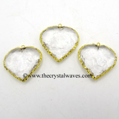Hydro Quartz Heart Shape Gold Electroplated Pendant