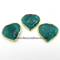 Persian Green Hydro Quartz Heart Shape Gold Electroplated Pendant