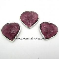 Amethyst Hydro Quartz Heart Shape Silver Electroplated Pendant