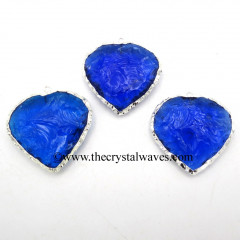 Blue Hydro Quartz Heart Shape Silver Electroplated Pendant