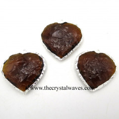 Brandy Citrine Hydro Quartz Heart Shape Silver Electroplated Pendant