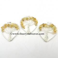 Citrine Chips Heart Shape Tree Of Life Pendant