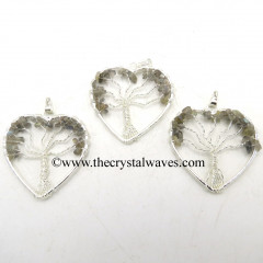 Labradorite Chips Heart Shape Tree Of Life Pendant