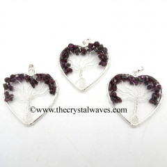 Garnet Chips Heart Shape Tree Of Life Pendant