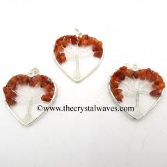 Carnelian Chips Heart Shape Tree Of Life Pendant