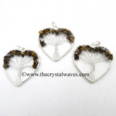 Tiger Eye Agate Chips Heart Shape Tree Of Life Pendant