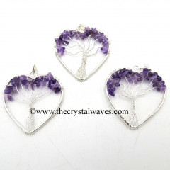 Amethyst Chips Heart Shape Tree Of Life Pendant