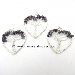 Iolite Chips Heart Shape Tree Of Life Pendant