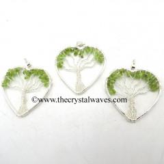 Peridot Chips Heart Shape Tree Of Life Pendant