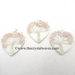 Rose Quartz Chips Heart Shape Tree Of Life Pendant
