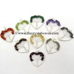 Mix Assorted Gemstone Chips Heart Shape Tree Of Life Pendant